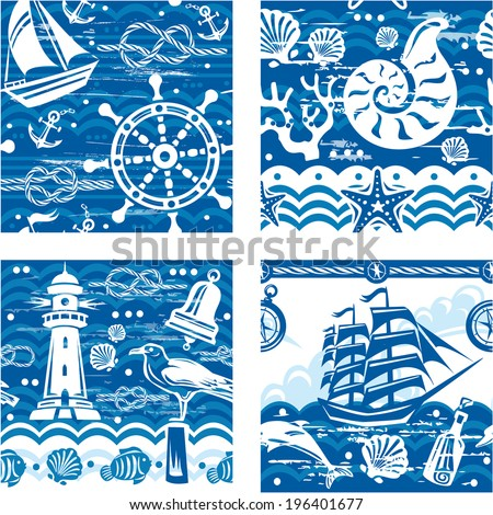 Patterns with Nautical and sea symbols - stock vector