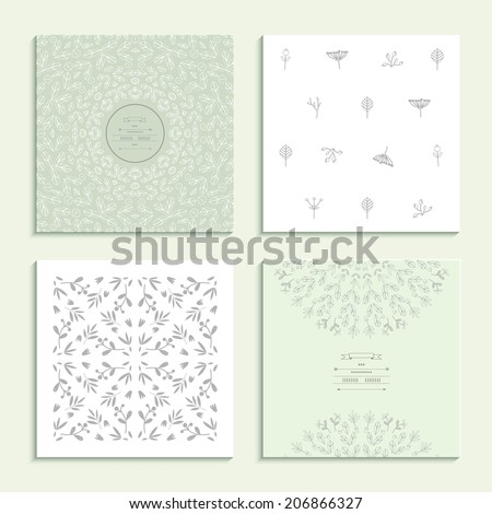 Patterns with vegetative elements Set of four cards. Vector illustration. - stock vector