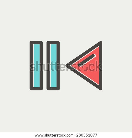 Pause and playback button icon thin line for web and mobile, modern minimalistic flat design. Vector icon with dark grey outline and offset colour on light grey background. - stock vector
