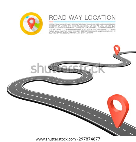 Paved path on the road, Curved road markings, Vector background - stock vector
