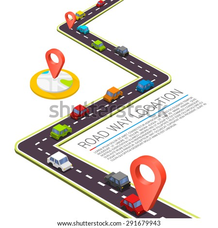 Paved path on the road. Isometric road location, Vector background - stock vector