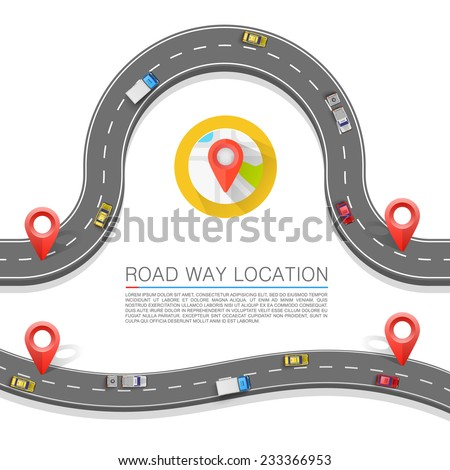 Paved path on the road, Road way location, Road location icon, Vector background - stock vector