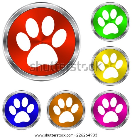 paw icon - vector glossy colourful buttons - stock vector