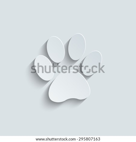 paw icon with shadow - stock vector