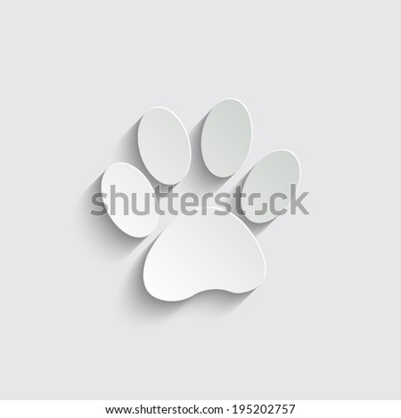 paw icon with shadow on a grey background - stock vector