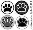 paw icons black & white - stock vector