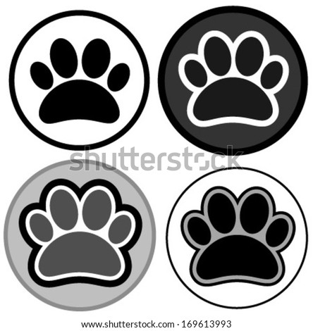 paw icons black & white - stock vector