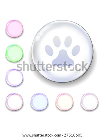 Paw print icon on translucent glass orb vector button - stock vector