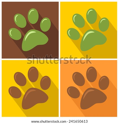 Paw Print Modern Flat Design Icon. Vector Collection Set - stock vector