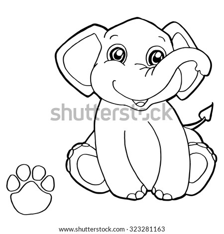 paw print with elephant Coloring Page vector  - stock vector