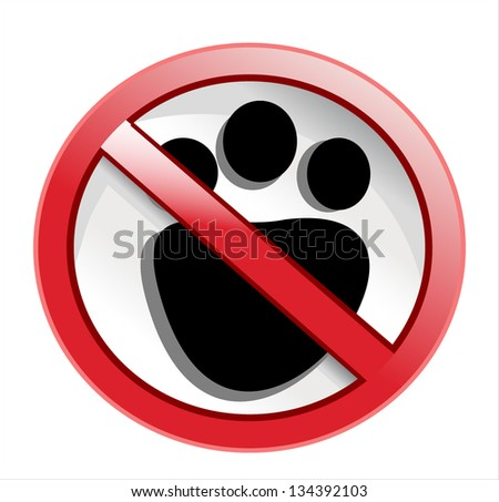 paw print with not allowed symbol - no pets allowed - vector - stock vector