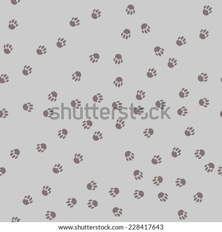 paw prints seamless pattern - stock vector