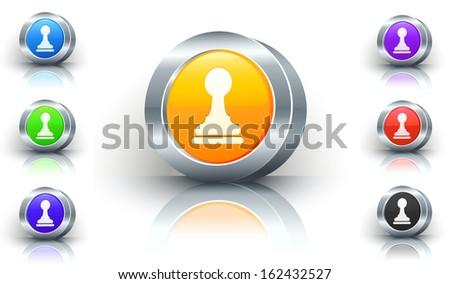Pawn Color Button Set - stock vector