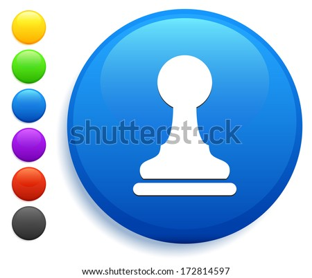 Pawn Icon on Round Button Collection - stock vector