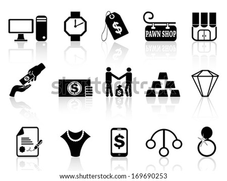pawn shop icons set  - stock vector