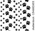 paws seamless pattern black, white - stock vector