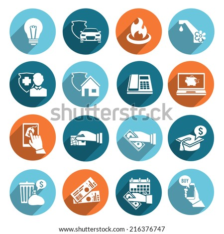 Pay bill online invoice and checks icons flat set isolated vector illustration - stock vector