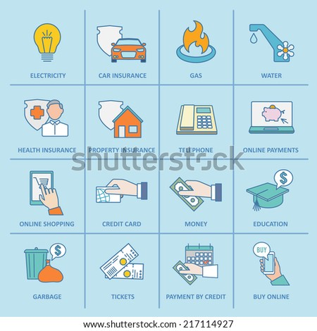 Pay bill property taxes payment insurance icons flat line set isolated vector illustration - stock vector