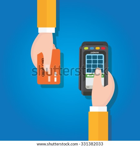 pay merchant hands credit card flat vector illustration payment edc electronic data capture transaction point of sales pos - stock vector