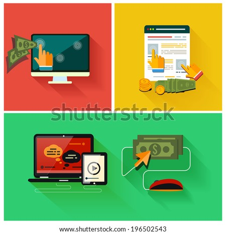 Pay per click internet advertising model when the ad is clicked. Set for web and mobile applications in modern flat design - stock vector