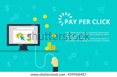 Pay per click - internet marketing, advertising concept in line and flat style. Hand clicks on mouse and making online purchase. PPC and conversion vector illustration. - stock vector