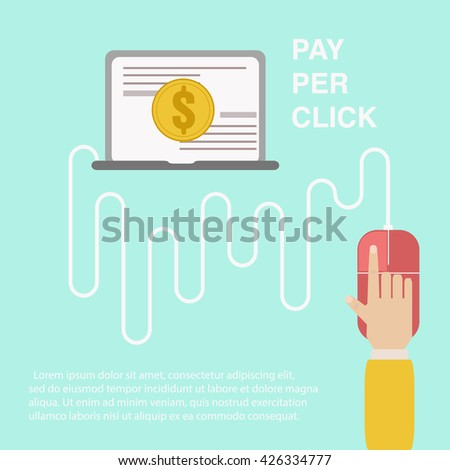 Pay per click . The mechanism of online advertising. Pay per action internente . Hand clicks on the computer mouse. Vector Banner - stock vector