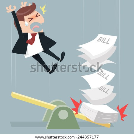 Paying a lot of bill - stock vector