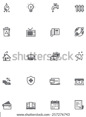 Paying bills icon set - stock vector