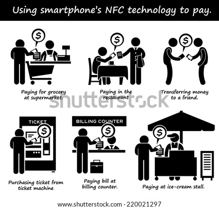 Paying with Phone NFC Technology Stick Figure Pictogram Icons - stock vector