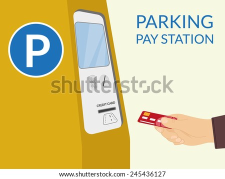 Payment by credit card at parking pay station - stock vector