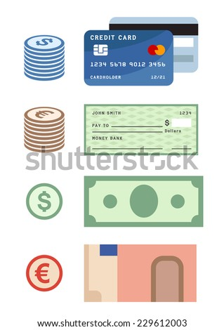 Payment methods, credit card, dollar and euro banknotes and coins - stock vector
