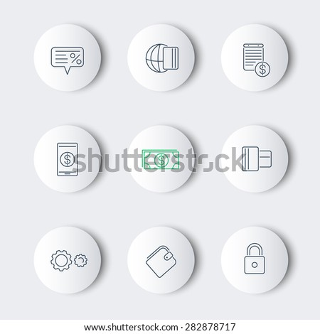 Payment methods, types line round modern icons, vector illustration, eps10, easy to edit - stock vector