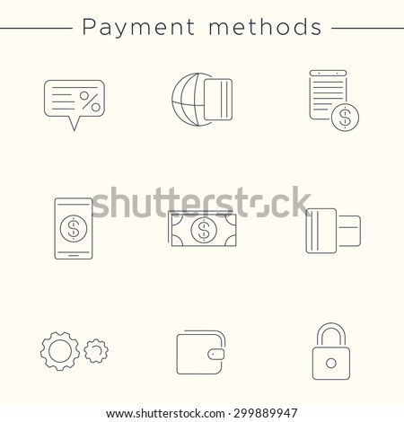 Payment methods, types, money, thin line, linear icons, vector illustration, eps10, easy to edit - stock vector