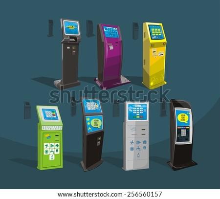 Payment terminal, Digital touch screen, interactive kiosk, vector design - stock vector