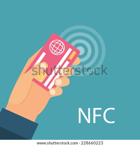 Payments using debit credit card, near field communication technology, online banking. Flat design vector. - stock vector