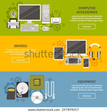PC and computer equipment with devices and accessories flat color horizontal banner set isolated vector illustration - stock vector