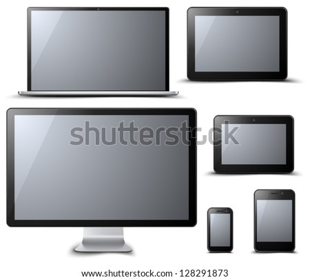 PC Devices set - stock vector