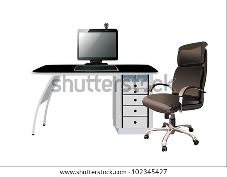 pc on table isolated on white background with clipping path - stock vector
