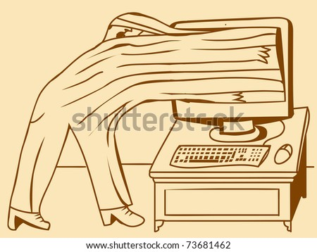 PC screen absorbs a man - stock vector