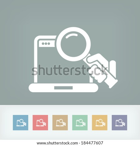 Pc search icon - stock vector