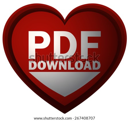 PDF Download Red Heart Shaped Sign, Vector Illustration isolated on White Background.  - stock vector