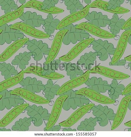 Pea pod seamless green pattern - stock vector