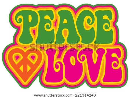 Peace and Love retro-style text design with a peace heart symbol. - stock vector
