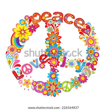 Peace flower symbol with hippie symbolic - stock vector