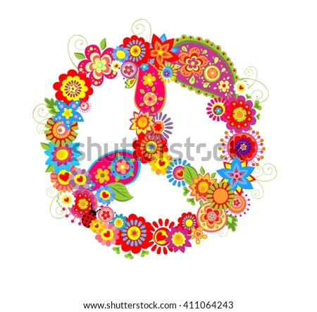 Peace flower symbol with poppies and paisley - stock vector