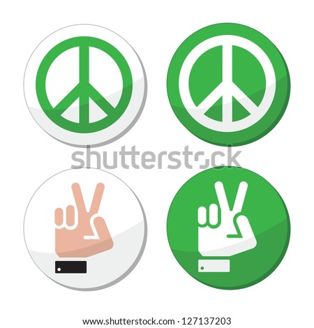 Peace, hand sign vector icons set - stock vector