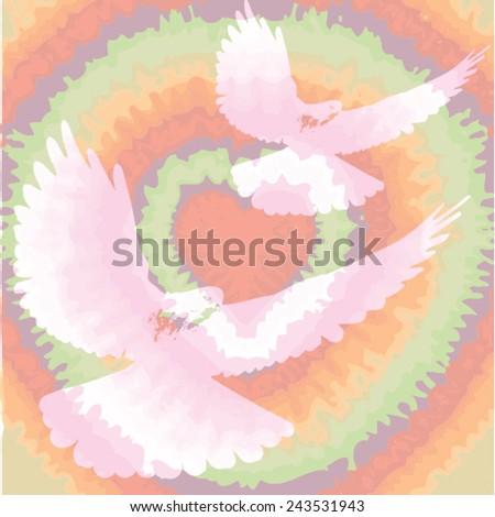 Peace Love Music dove sign Mandala - Hippie style - stock vector