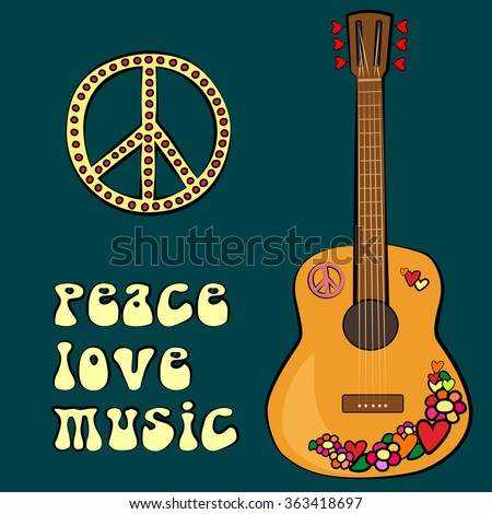 PEACE LOVE MUSIC text design with peace symbol and guitar - stock vector