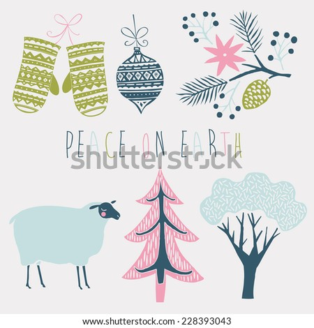 Peace on Earth Set of Christmas graphic elements - stock vector
