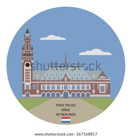 Peace Palace, Hague, Netherlands - stock vector